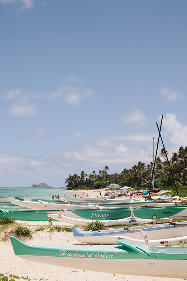 Canoes on the beach in Lanikai, the most gorgeous beach town on Oahu, Hawaii // WeAreAdventure.us