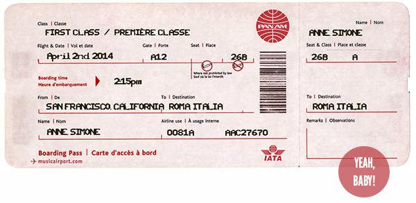 Vintage Pan Am Boarding Pass from San Francisco to Rome / I quit my job to travel the world! // WeAreAdventure.us